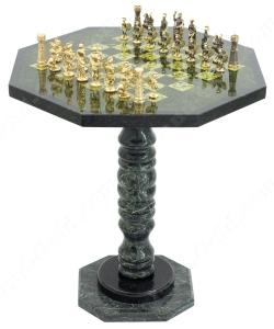 Шахматный стол из Змеевика с фигурами из Бронзы