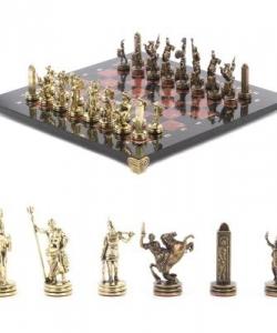 Шахматы  Греческая мифология  доска 360х360 мм креноид змеевик металл