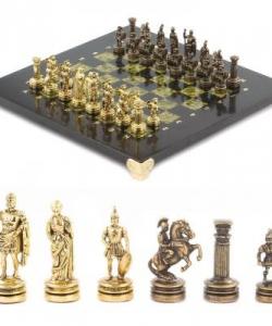 Шахматы  Римляне  доска 280х280 мм змеевик металл