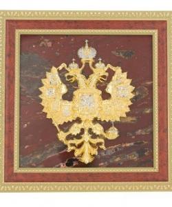 Панно  Герб России  яшма багет 220х220х20 мм