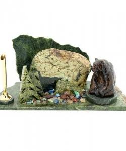 Мини-набор  Мишка сидящий  змеевик 80х160х100 мм 1000 гр.