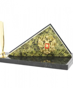 Мини-набор с гербом России змеевик 185х90х80 мм 550 гр.