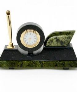 Часы с визитницей Мини камень змеевик