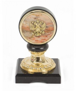 Подставка  Герб  яшма долерит бронза 9х9х15 мм 1250 гр.