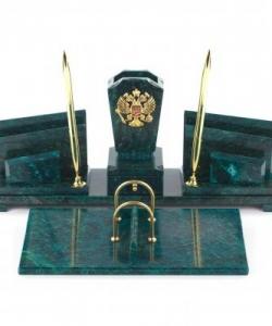 Настольный набор  Герб  змеевик 440х240х170 мм 5600 гр.