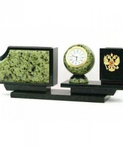 Письменный набор с гербом РФ камень змеевик