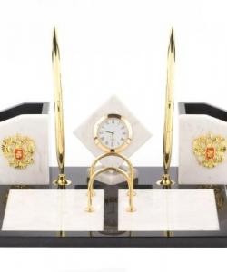 Настольный набор  Куб  мрамор змеевик 305х225х110 мм 3500 гр.