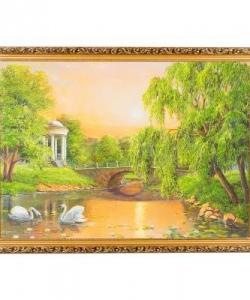 Картина  Лебеди на закате  багет №7 (50х70 см) К133