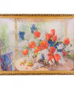 Картина  Тюльпаны с черёмухой  багет №7 (50х70 см) ДО17