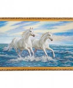 Картина  Белоснежные жеребцы  багет №10 (60х100 см) 25Т