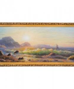 Картина  Утро. Прибой волн  багет №6,5 (33х70 см) ГА10
