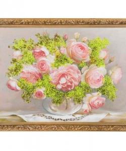 Картина  Розы в стеклянной вазочке  багет гипс №4 (30х40 см) БИ1