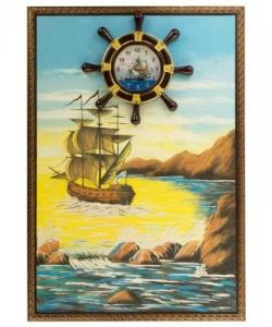 Часы с картиной  Парусник  45х65 см