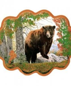 Панно  Медведь на камне  №3 (34х26 см)