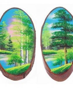 Панно на срезе дерева  Лето  вертикальное 35-40 см