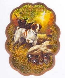 Панно  Собака в лесу  №2 (25х19 см)