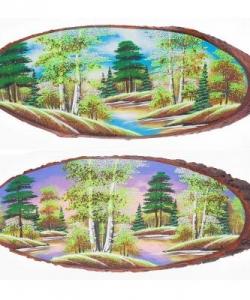 Панно на срезе дерева  Весна  горизонтальное 75-80 см