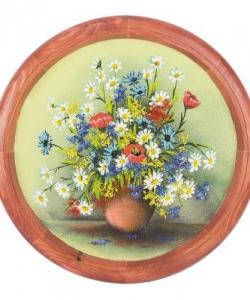 Панно на тарелке  Полевые цветы  Д-40см
