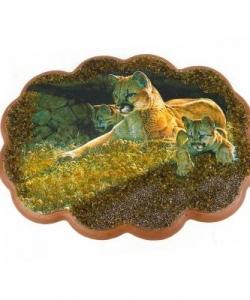 Панно  Львица со львятами  №2 (25х19 см)
