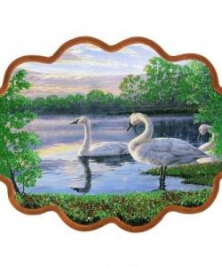 Панно  Семья лебедей  №3 (34х26 см)