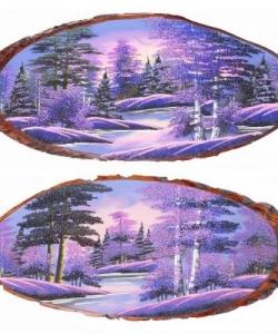Панно на срезе дерева  Рассвет  горизонтальное 95-100 см