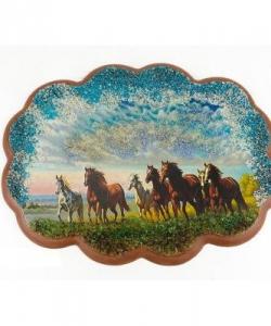 Панно  Побег лошадей  №2 (25х19 см)