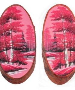 Панно на срезе дерева  Розовый закат  вертикальное 35-40 см