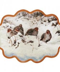 Панно  Куропатки на снегу  №3 (34х26 см)