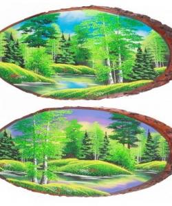 Панно на срезе дерева  Лето  горизонтальное 65-70 см