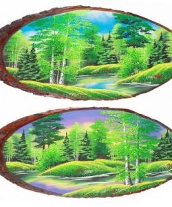 Панно на срезе дерева  Лето  горизонтальное 95-100 см