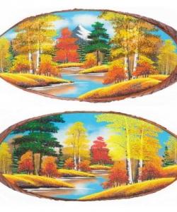 Панно на срезе дерева  Осень  горизонтальное 75-80 см