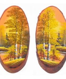 Панно на срезе дерева  Золотая осень  вертикальное 30-35 см