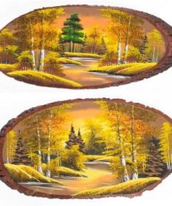 Панно на срезе дерева  Осень янтарная  горизонтальное 70-75 см