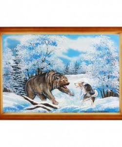 Картина  Медведь с собакой  багет дерево №6 (40х60 см)
