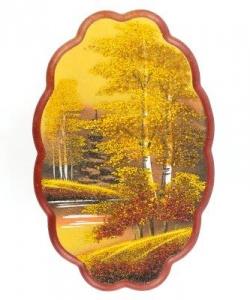 Панно овальное  Осень золотая  №3 вертикальное (30х19 см) в ассортименте