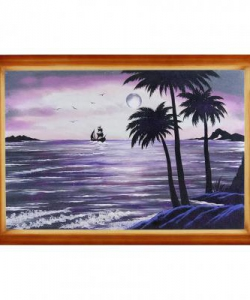 Картина  Пальмы на берегу  багет №6 (40х60 см)