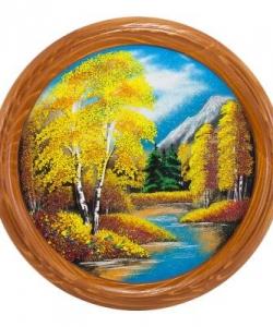 Панно на тарелке  Осенний пейзаж  Д-40см