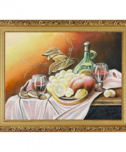 Натюрморт  Фрукты с вином  багет гипс №4 (30х40 см)