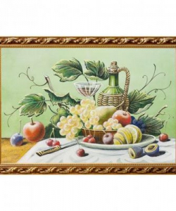 Натюрморт  Фрукты с вином  багет гипс №6 (40х60 см)