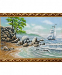 Картина  Пейзаж с парусником  багет №6 (40х60 см)