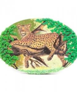 Панно из змеевика на подставке  Леопард