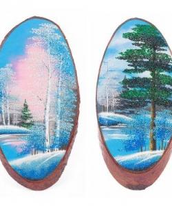 Панно на срезе дерева  Зима  вертикальное 45-50 см