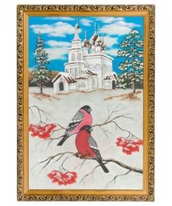 Картина  Церковь и снегири  багет №6 (40х60 см)