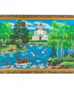 Картина  Церковь и утки  багет №6 (40х60 см)