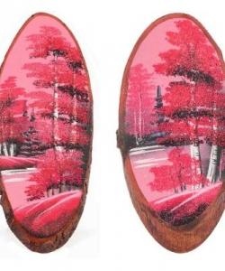 Панно на срезе дерева  Розовый закат  вертикальное 25-30 см