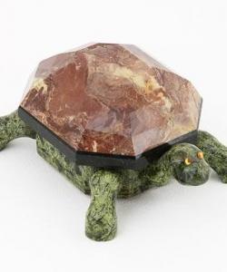 Шкатулка  Черепаха  змеевик, креноид 160х120х70 мм 1000 гр.