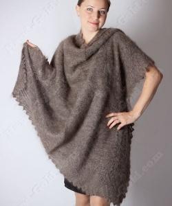 Пуховый платок Коричневый 105x105