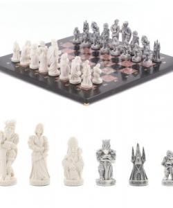 Шахматы  Средневековье  креноид змеевик 400х400 мм