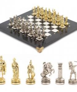 Шахматы  Лучники  доска 280х280 мм мрамор змеевик металл