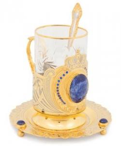 Чайный набор  Корона  с фианитами лазурит